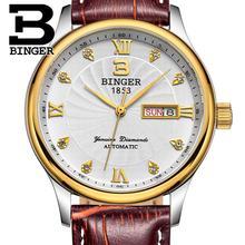 Suisse hommes Montres de luxe marque montres BINGER lumineux Montres À Quartz bracelet en cuir Étanche B603B-10