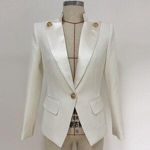 Image 4 - Veste de haute qualité avec col en Satin et bouton simple de styliste pour femmes, veste 2020
