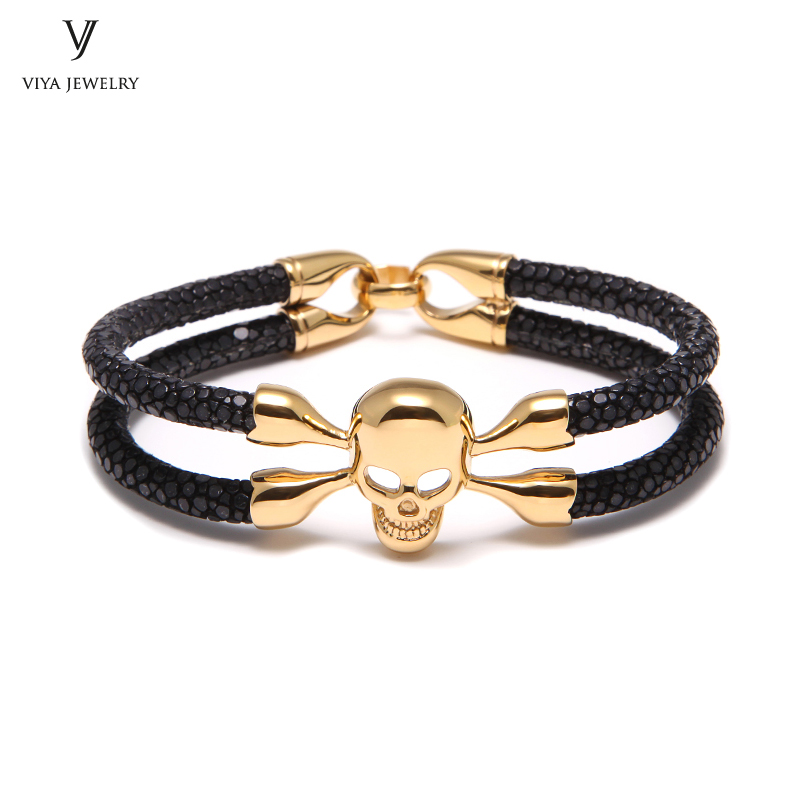 4bea85860e72 Dark Brown Stingray Leather Skull Bracelet Luxury Stingray Skull Cuff Men  Bracelet Has Gift Box Best Men Gift Stingray Bracelet - aliexpress.com -  imall.com