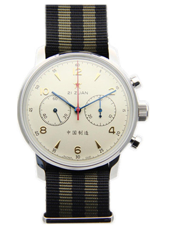 Gaivota Movimento Chronograph Mens relógio de Pulso Mecânico Officiall Reedição 304 St19 1963 Flieger Piloto exibition 42 MM Marfim