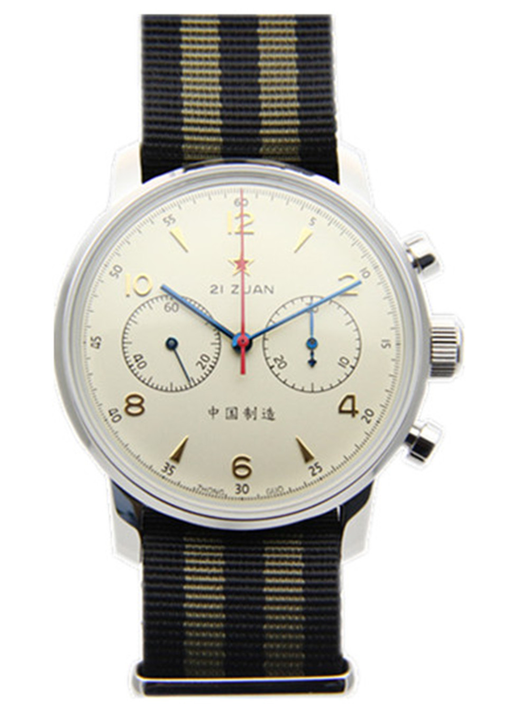 Movimiento de gaviota cronógrafo mecánico reloj de pulsera para hombre Pilot Officiall reission 304 St19 1963 exibición de fliger 42 MM marfil