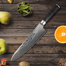 "SUNNECKO Professional 8"" inch Chef Knife Stainless Steel Black Pakka Wood Handle Kitchen Knives Sharp Blade Knife Cutter Tool"