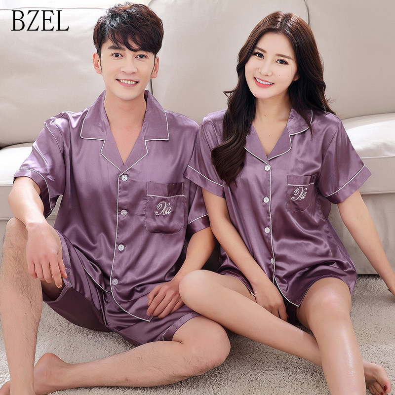 BZEL Hot Sale Matching Couple Pajama Suit Casual Summer Loungewear Men Women Soft Tailored Collar Sleepwear 6 Colors Available