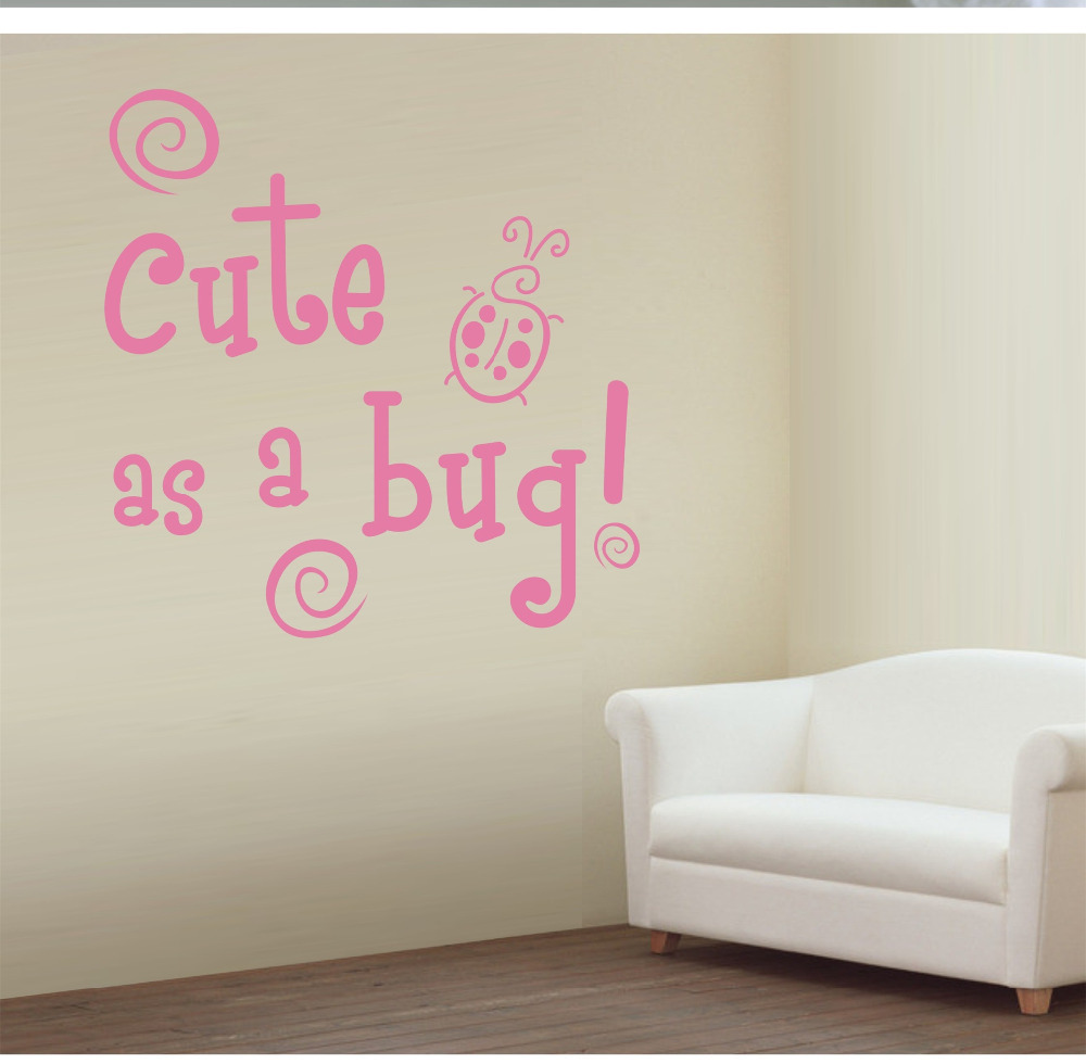 wall decals quotes   Cute As A Bug Blue Green Insects Baby Boys Nursery   Wall Sticker Decal Mural-in Wall Stickers from Home u0026 Garden on Aliexpress.com ... & wall decals quotes