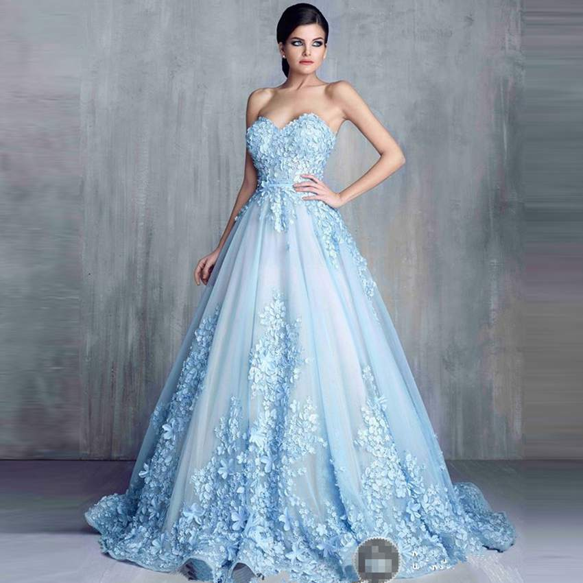Charming Light Blue Long Evening Dress 2016 A Line Sweetheart Lace ...