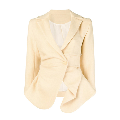 AEL Офисные женские туфли из хлопка и льна повседневный костюм, жакет нерегулярные Ruched Блейзер модная верхняя одежда Весна Высокое качество Для женщин Clothing2019 - Цвет: Бежевый