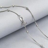 L & P Nueva Moda Disponible Real 925 Caja Delgada de Cuentas de la Cadena Collar Para Mujer Para Hombre Niños 45 cm 18 pulgadas de La Joyería