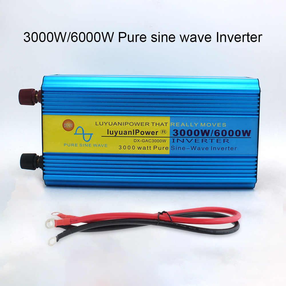 6000W czysta fala sinusoidalna przetwornica napięcia transformator DC 12V/24V do AC 220V/230V/240V z podwójna lampa LED wyświetlacz 3.1A USB wireless control