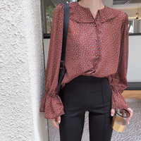 2018 Spring And Summer New Floral Speaker Sleeve Lotus Leaf Collar Chiffon Shirt Female Korean Long