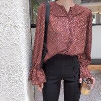 2018 Spring And Summer New Floral Speaker Sleeve Lotus Leaf Collar Chiffon Shirt Female Korean Long