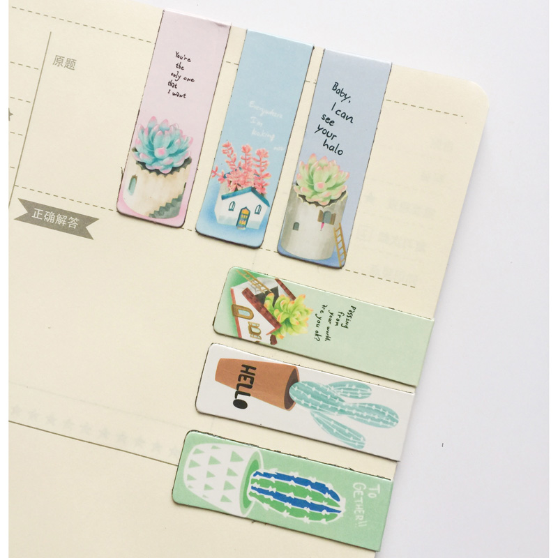 6pcs/pack Cute Green Plants Cactus Magnetic Bookmarks Books Marker Of Page Student Stationery School Office Supply Kids Gift