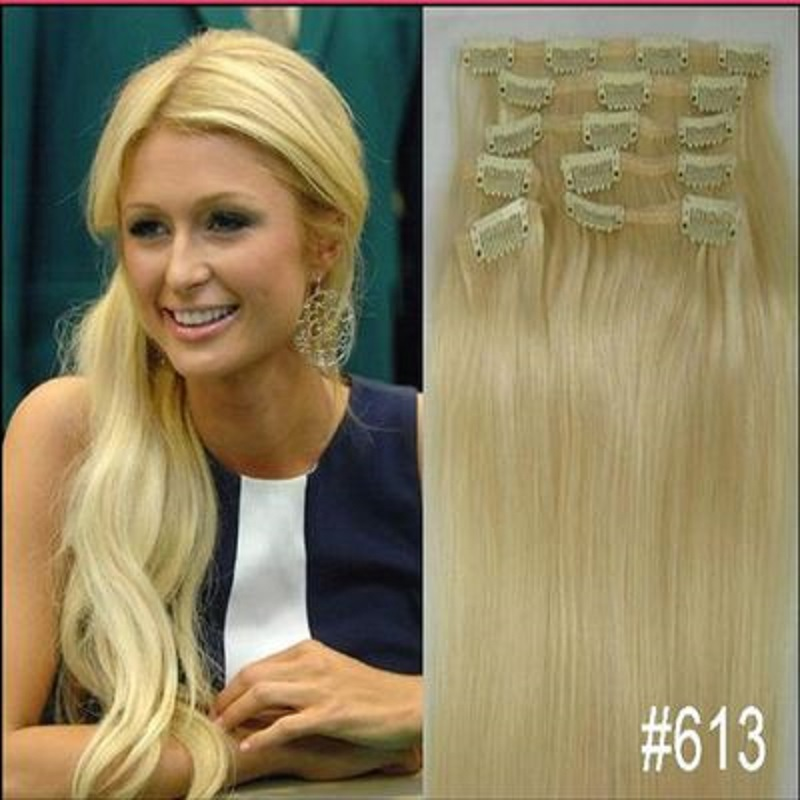 "free shipping 16""- 32"" 8pcs Set #613 Blonde Hair Pieces Soft Indian Remy hair Clip in / on Human Hair Extenions 120g 140g 160g"