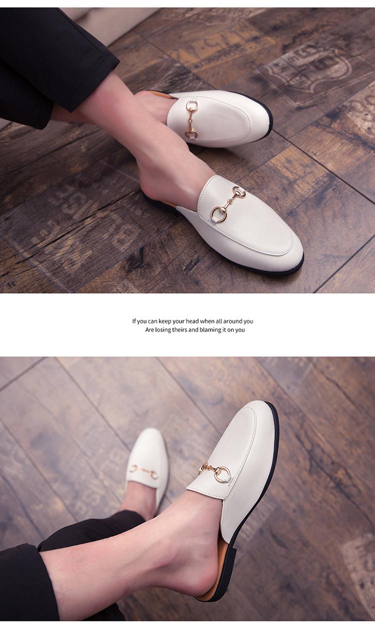 Men Backless dress leather slipper shoes Men unisex Bee prints Horseshoe buckle Casual business wedding Leather shoes women 22