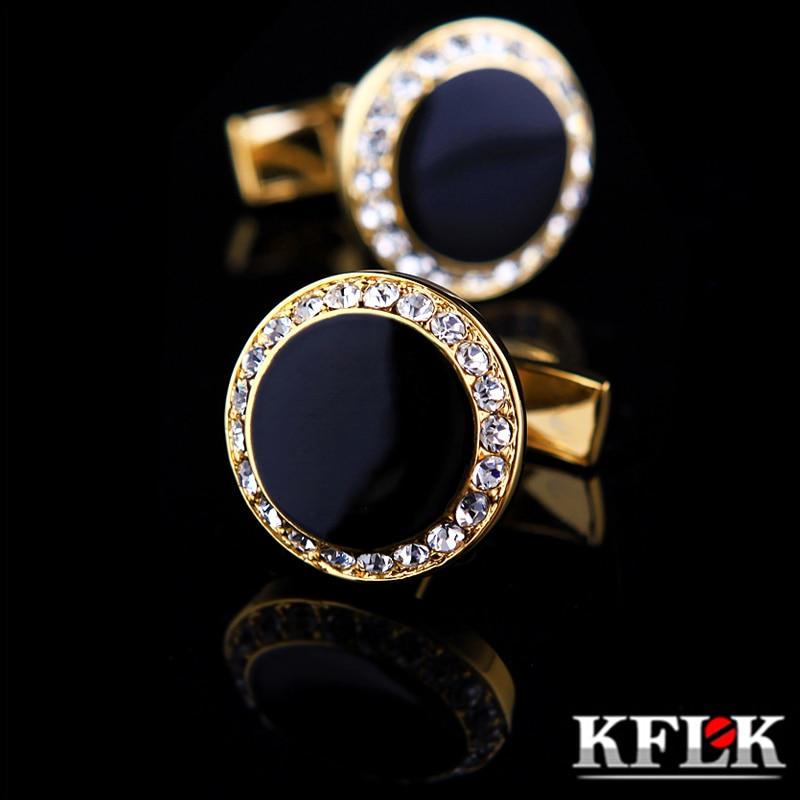 KFLK Jóias francês manga da camisa botão de punho para homens Marca designer Punhos Botão de link de Ouro masculino de Alta Qualidade de Casamento de Luxo Frete Grátis