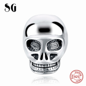 Fit Authentic pandora Bracelets Silver 925 Beads Original skull Charms Antique Beads DIY Pendant Jewelry Making for women Gifts