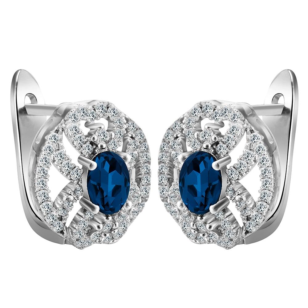 70dc521e25fd Hoop pendientes oro blanco de color Zircon CZ de la gema pendientes cristal  azul real del regalo de la señora de las mujeres promoción grande fábrica  precio