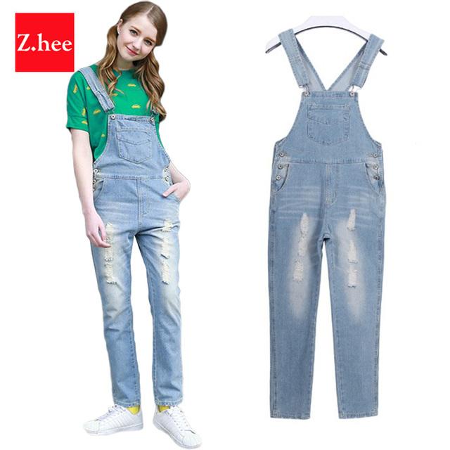 Clássico Distresed Macacão Jeans Rasgado calças de Brim Das Mulheres jumpsuit Apertado Cintura Alta Denim Desgastado macacão Para Mulheres Calças de Brim