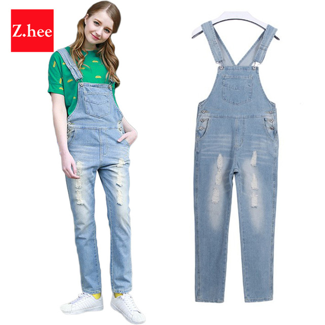 Classic Distresed Ripped Denim Overalls Jeans Women jumpsuit Tight High Waist Frayed Denim jumpsuit For Women Jeans
