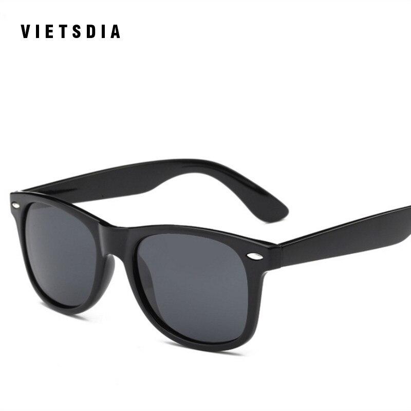 32a0360ef1 VIETSDIA Retro Rivet Polarized Sunglasses Men Black Matte Plastic Sun  Glasses For Men Brand Classic Popular Vintage Shades uv400