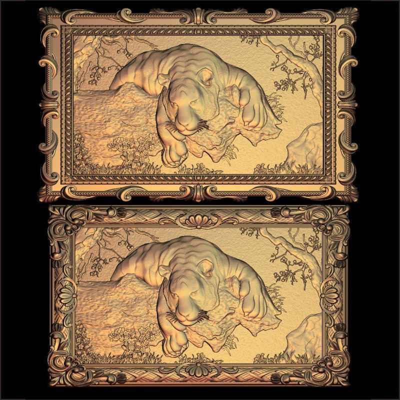 2pcs/set Tiger 3D Model STL Relief For Cnc STL Format Furniture The Tiger Mural 3D STL Format Furniture Decoration