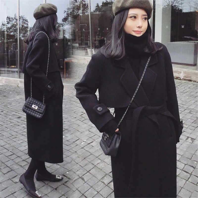 Musim Semi Musim Gugur Musim Gugur Baru Wanita Kasual Campuran Wol Mantel Kebesaran Mantel Panjang dengan Sabuk Wanita Mantel Wol Kasmir pakaian Luar
