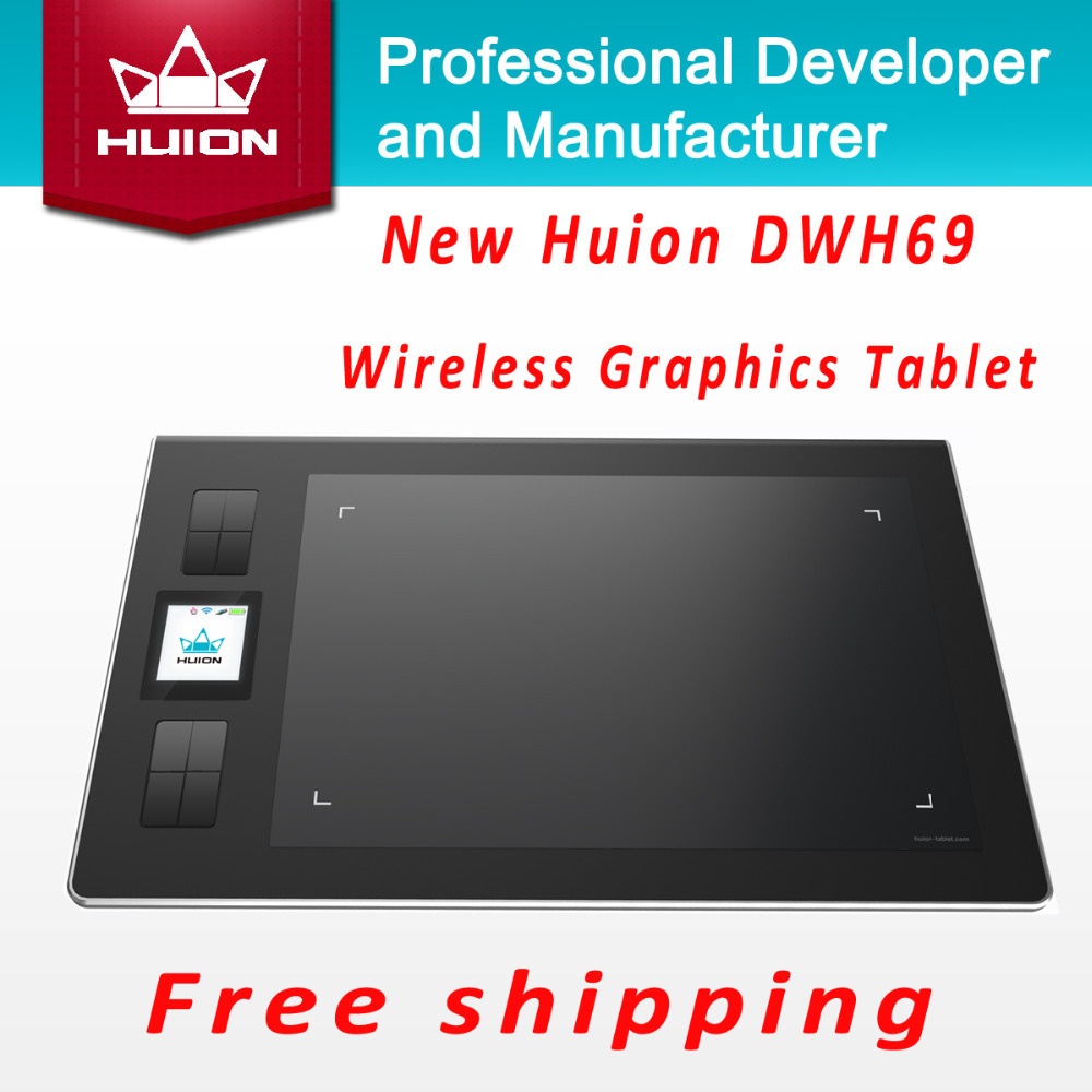 Promotion New Huion DWH69 Wireless LCD Screen Graphic Tablet Kids Drawing Board Digital Pen Tablets Professional Pannel Black