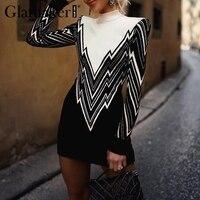 Glamaker Sexy knitted bodycon pullover Women high neck warm sweater jumper summer Femme streetwear long casual sweaters dress