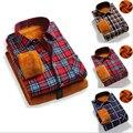 Los Nuevos hombres de la Tela Escocesa Gruesa de Manga Larga Camisa de Los Hombres Calor Engrosamiento Casual de Negocios Camisa Delgada de Algodón Grandes Patios ropa