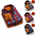 The New Men 's Plaid Thick - Sleeved Shirt Men 's Business Casual Warmth Thickening Slim Shirt Cotton Large Yards Clothing