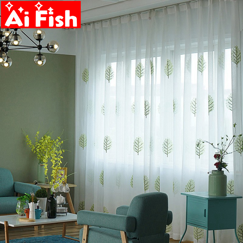 Green Linen Embroidery Leaves Tulle Curtains For Bedroom Coffee Vertical Vurtain Curtains Kitchen Sheer Drapes Custom MY009-30