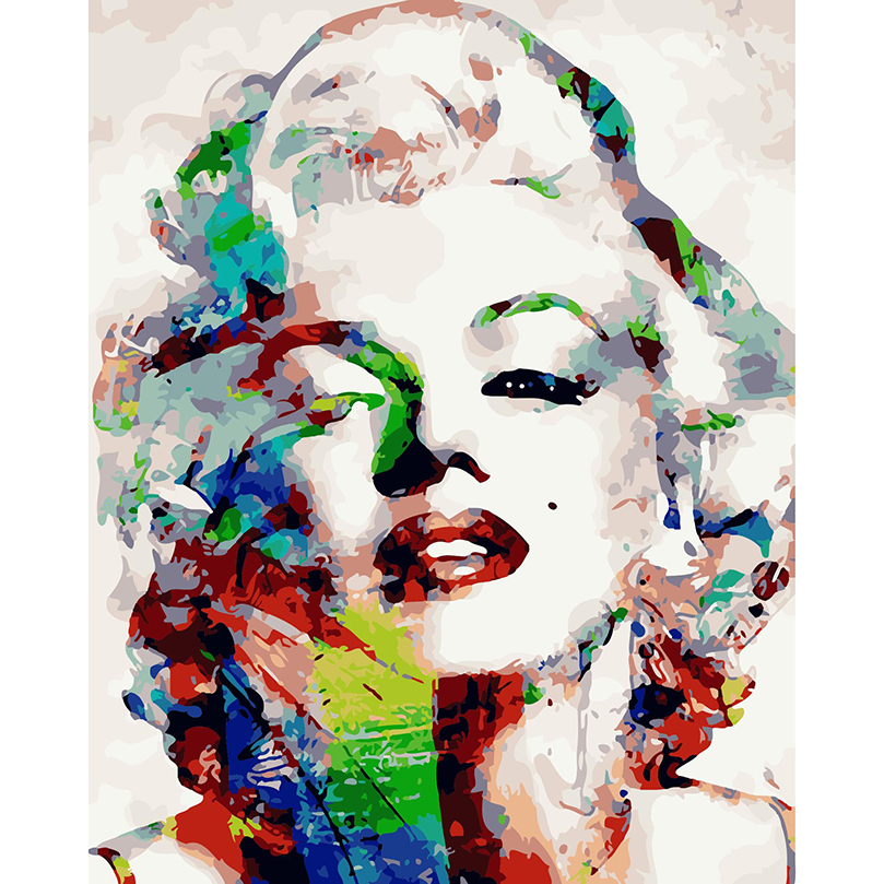 abstract canvas painting colorful hand painted marilyn. Black Bedroom Furniture Sets. Home Design Ideas