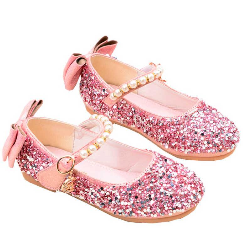 Goud/Zilver/Roze kinderen Pailletten Schoenen Enfants 2019 Baby Meisjes Bruiloft Prinses Kids Platte onderkant Jurk Party schoenen Voor Meisjes