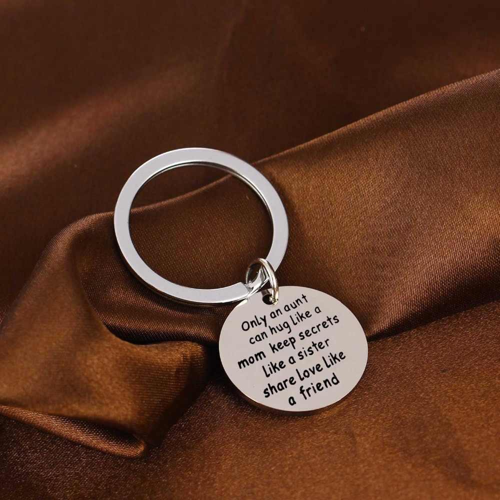 เพียงป้าสามารถ Hug Like Mom เก็บความลับเช่นน้องสาวหุ้น Love Like A Friend พวงกุญแจสแตนเลสเหล็ก Aunty พวงกุญแจของขวัญ