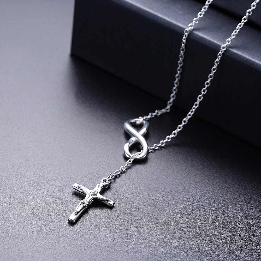 32ddc7f4f ... Fashion Infinity Cross Pendant Necklaces Jesus Christ Silver Color Chain  Elegant Church Jewelry for Women Ladies