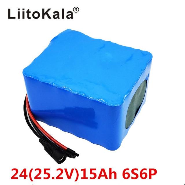 LiitoKala 6S6P 24V 15Ah 25,2 V lithium batterie pack batterien für elektrische motor fahrrad ebike roller rollstuhl abschneider mit BM