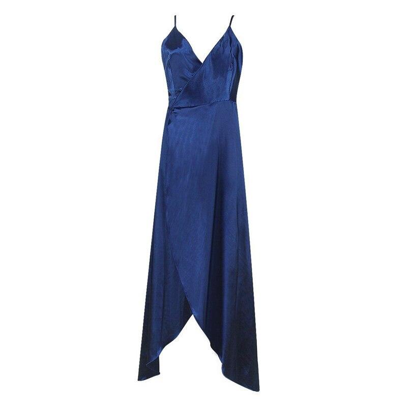 Summer Dress Slip Satin Backless Bandage Split Sexy Long Dress Women Pajamas Evening Party Elegant Blue Maxi Dresses Vestidos in Dresses from Women 39 s Clothing