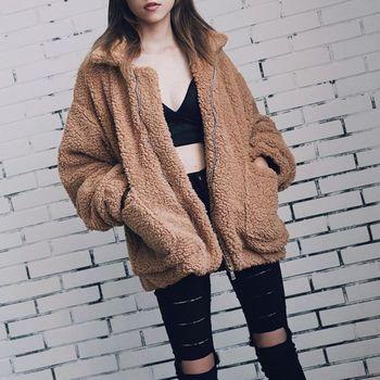 Élégant fausse fourrure manteau femmes 2018 automne hiver chaud doux fermeture éclair fourrure veste femme en peluche pardessus poche décontracté Teddy Outwear 1