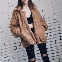 Элегантное женское пальто из искусственного меха 2018 осень зима теплая мягкая меховая куртка на молнии женское плюшевое пальто с карманами ...