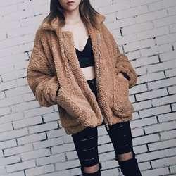 Элегантный Искусственный мех пальто для женщин 2018 Осень Зима Теплые мягкие на молнии меховая куртка женская плюшевые карман повседневное