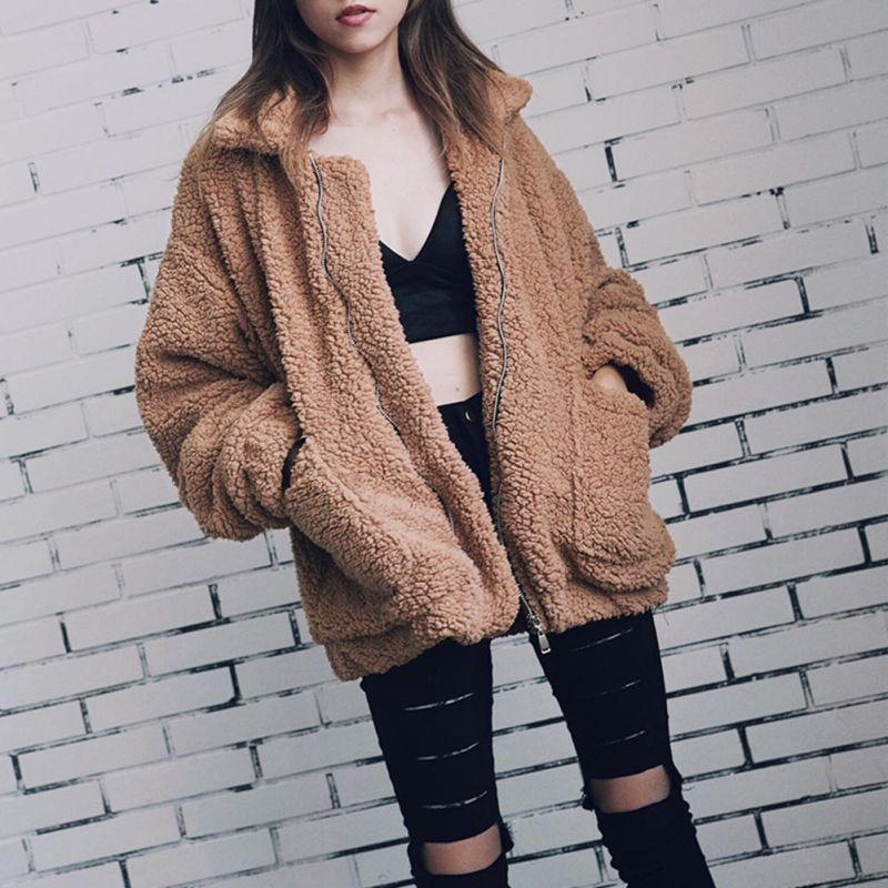 Elegante abrigo de piel sintética 2018 mujeres otoño invierno cálido suave cremallera chaqueta de piel de mujer de bolsillo de Teddy prendas