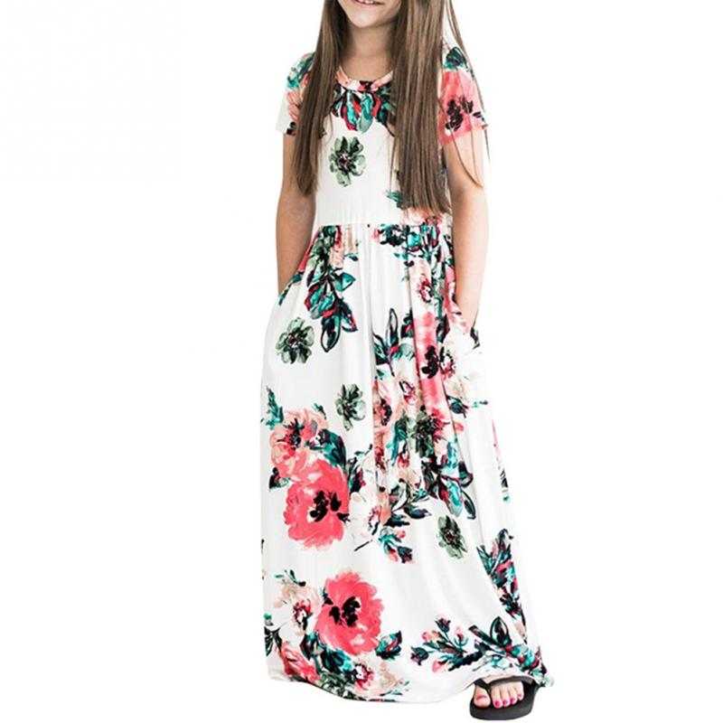 Kids Girls Short sleeve Floral Maxi Dress Princess Party Dresses Pageant Formal Long Dress for Girls Birthday Holiday Dairlywear