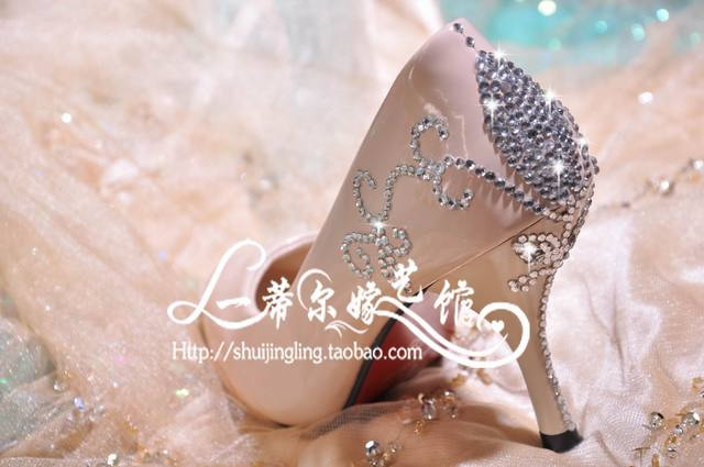 2013 All Match Elegant Beige,Nude Color Pointed Toe Crystal,Fringe,Bead High Heels Shoes Bridesmaid Bling Bling Wedding Shoes