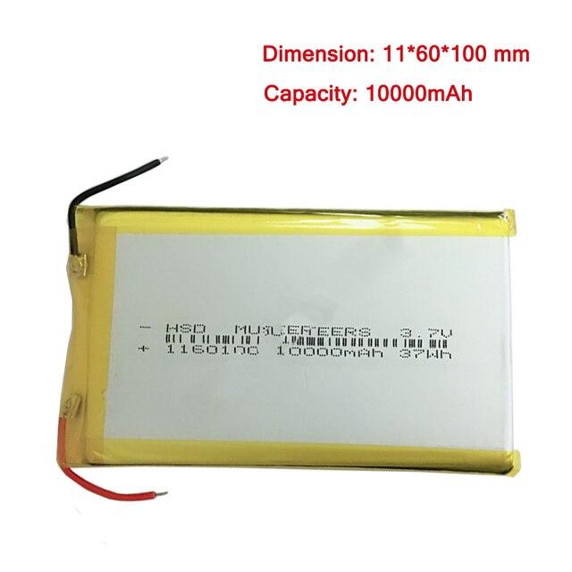 10000 mah 3.7 v 1160100 Batterie Li-po Có Thể Sạc Lại Pin Cho Máy Tính Bảng PC Ngân Hàng Điện MP4 Remplacement pin