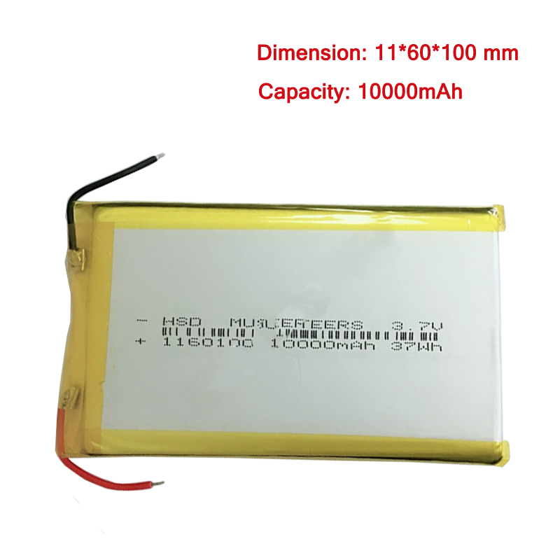 10000 mah 3 7 v 1160100 Batterie Li po Rechargeable Batteries For Tablet PC Power Bank