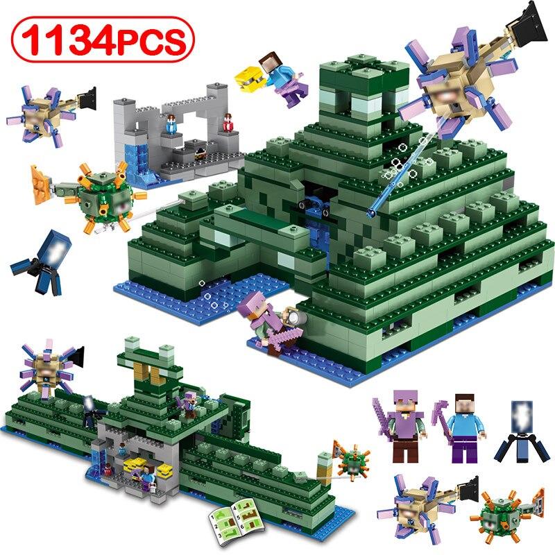 Modèle de Temple sous-marin Minecrafted Compatible Legoinglys mon monde blocs de construction chiffres éducation jouets loisirs pour enfants