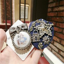 Korea Handmade Vintage Luxurious Rhinestone Star Bow knot Badge Brooches Pins Fashion Jewelry Woman Accessories-JQGWBH018E
