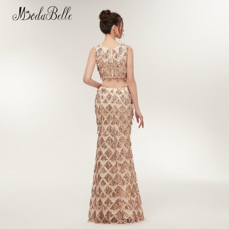 Modabelle sirène deux pièces Sequin robes de bal Champagne or Vestido Festa Longo longueur de plancher femmes robe de soirée brillant - 5