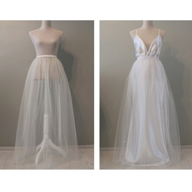 63937fb164 White Tulle Detachable Overskirt Custom Made 2 Layers Tulle Tutu Skirt Sexy  See Through Chic Long Maxi Skirt Plus Size
