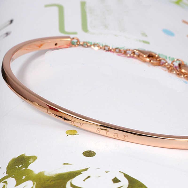 XXX 18k золотые браслеты 2017 новые женские Девушки мисс подарок браслеты Роза Счастливая звезда Украшенные модные трендовые ювелирные изделия вечерние настоящие