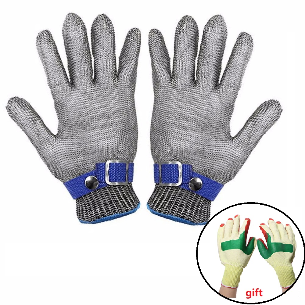 Breathable Safety Anti-cutting Proof Stab Working Gloves corrosion Resistant Stainless Steel Metal Mesh labour Gloves+gift new black safety cut stab resistant stainless steel wire metal mesh butcher gloves cut resistant safety gloves
